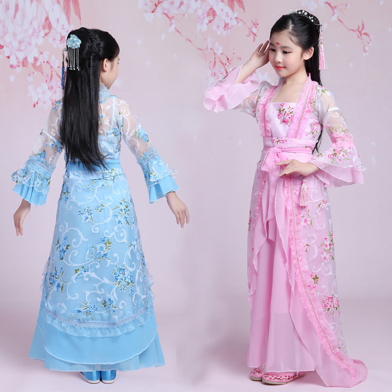 2018 spring children costume chinese floral lace hanfu dresses girls emperor queen stage clothes costumes tang suit kids robe tv play the virtuous queen of han princess pingyang hanfu costume hair tiaras hair jewelry