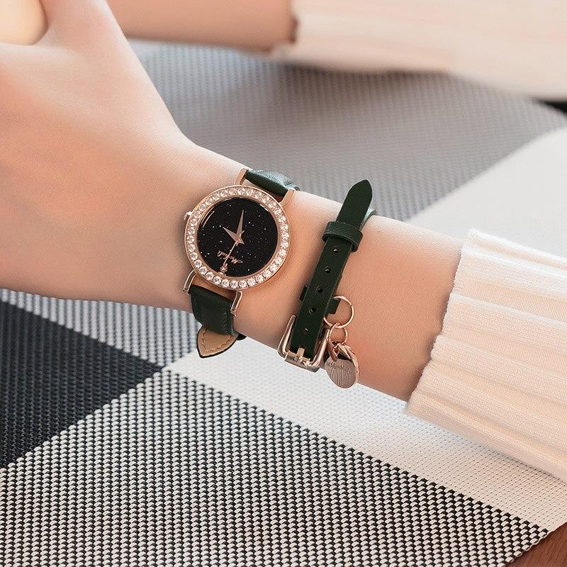 Mashali 2018 Quartz Women Casual Fashion Rose Gold Black Belt Starry sky The Dial Plate Watch Brand Watches Dress Ladies Clock цена и фото
