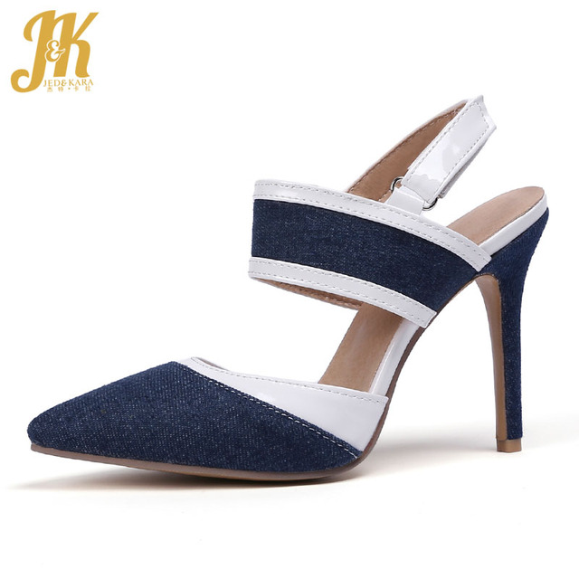 0877b3200 JK Denim High Heels Sandals Women Pointed Toe Hook Footwear Fashion Party  Female Sandal 2019 Summer
