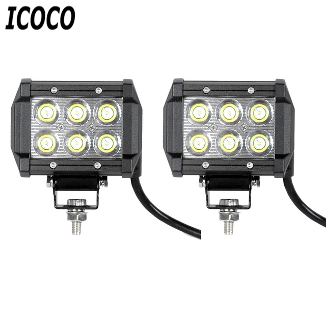 ICOCO New Arrival 2pcs/set Waterproof IP67 4 inch 18w LED Light Bar Work Spotlight for Offroad Boat Car Truck Promotion Sale