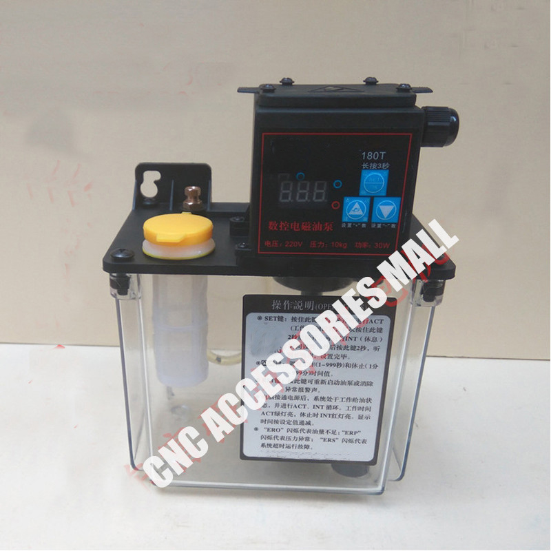 1.8L 220V AC Electric Auto Lubrication Pump Single screen Automatic Oil Pump for CNC Engraving Router machine full set 1 5l fully automatic lubrication pump 220v single screen oil lubrication pump for cnc router