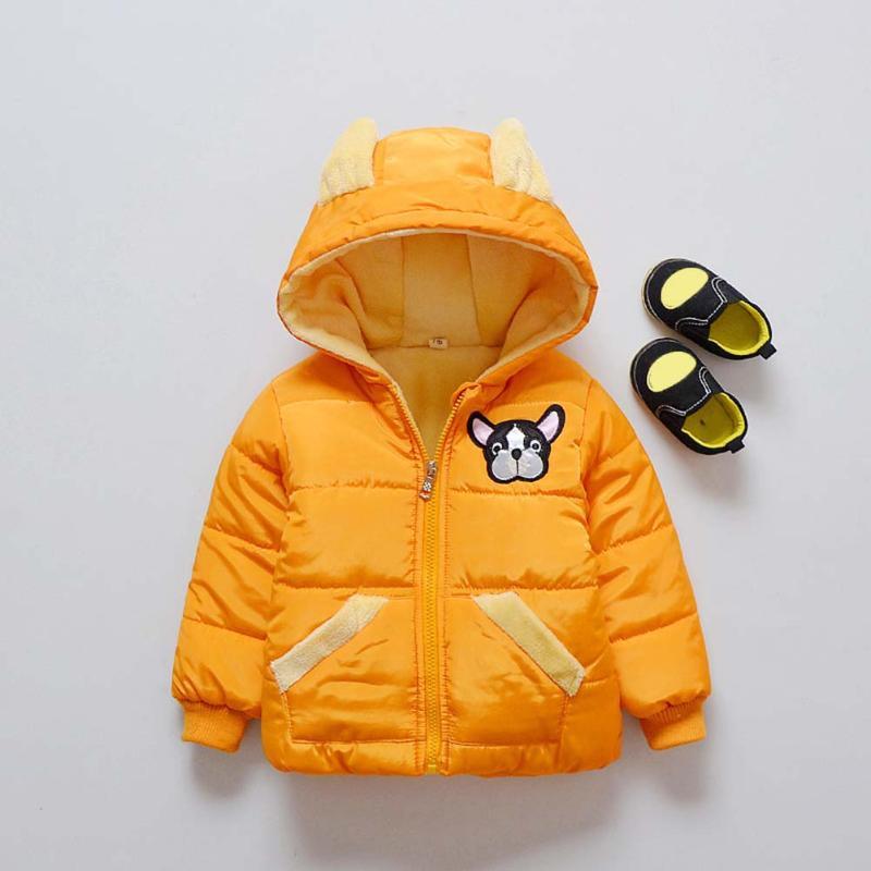 Детская зимняя Обувь для мальчиков Куртки собака Вышивка руно ветрозащитный Теплая верхняя одежда с капюшоном пальто детей Костюмы детски...