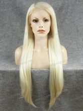 N22-1001/613 Top Fashion 30INCH Long Blonde Silky Straight Synthetic Lace Front Wig Free Shipping