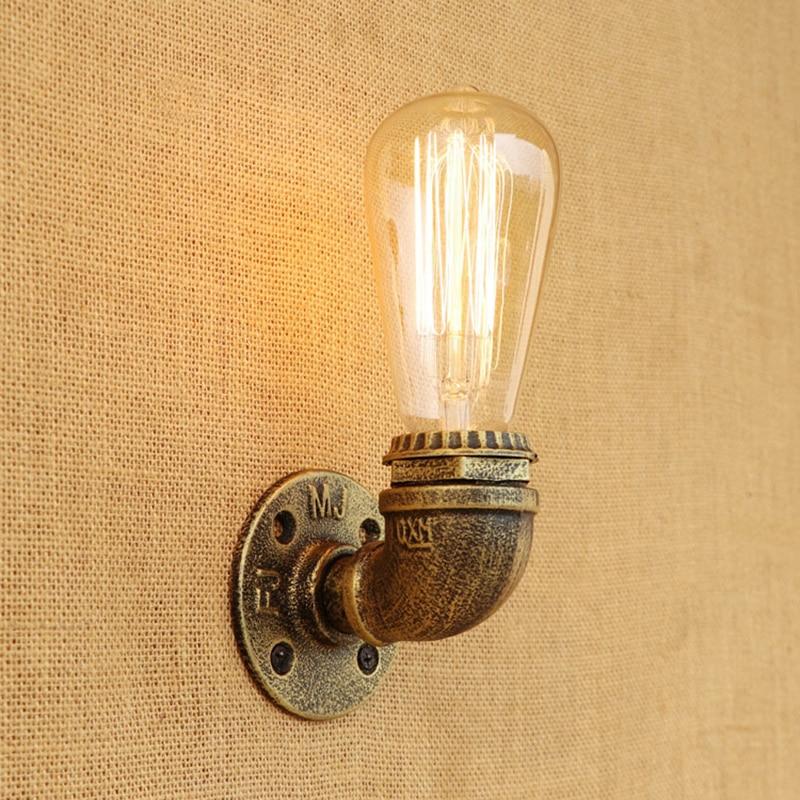 ФОТО Vintage Loft Water pipe wall lamp Industrial retro metal rust sconce light for living room bedroom restaurant bar 80v-240v E27
