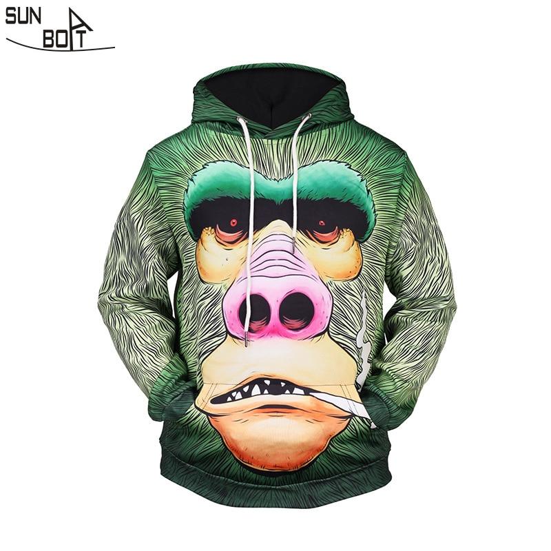77e7ed8c4393 Sunboat 2017 New Arrivals Men Hoodies Sweatshirts Winter 3D Printed Cartoon  King Kong Gorilla High Quality Hip Hop Clothing