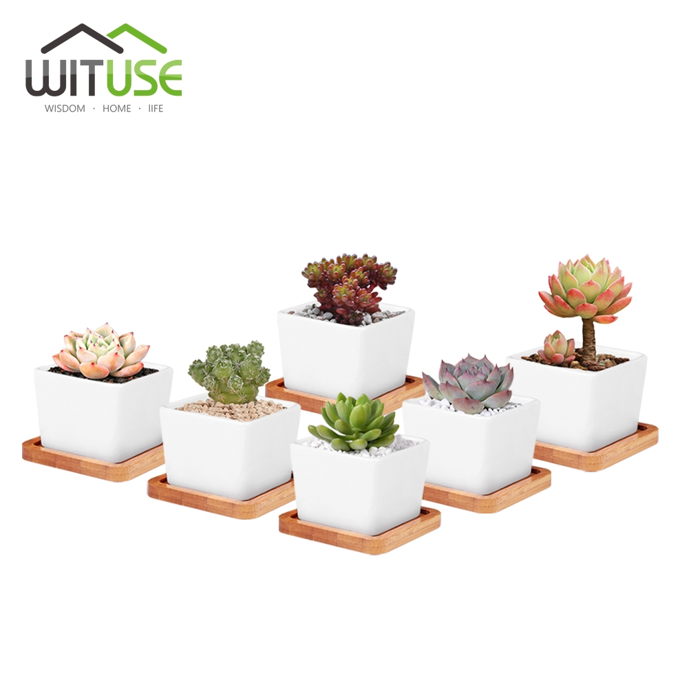 Cheap White Ceramic Plant Pots Home Office Flowers Potted Flowers