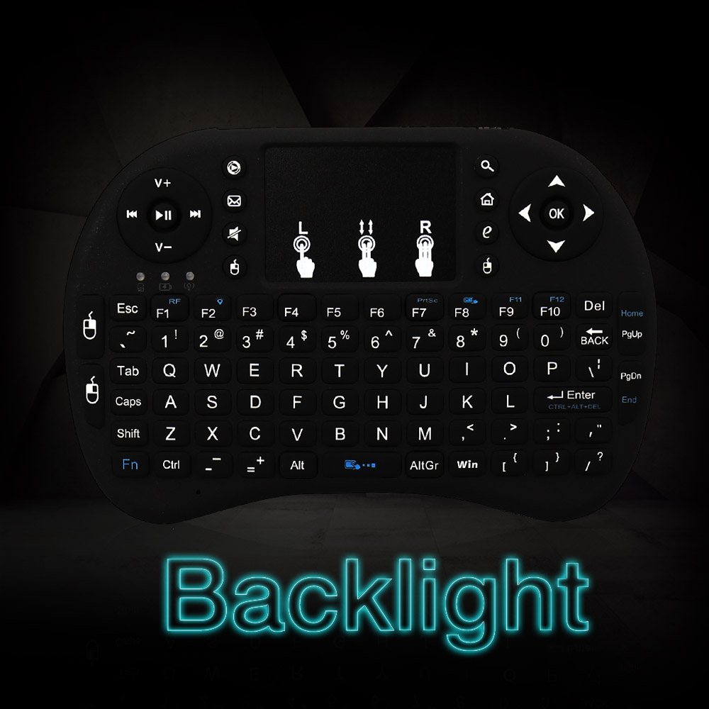 Mini Wireless English Keyboard RF 2.4G Mouse Touchpad Design Handheld Keyboard for Gaming PC Android TV Windows X-BOX Player