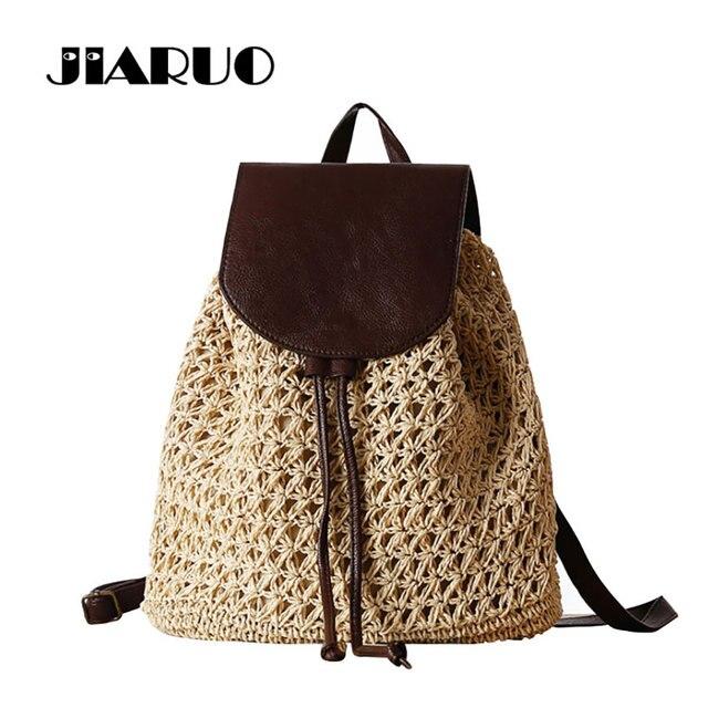 0212b88021fc JIARUO лето Drawstring Соломенная Сумка Выдалбливают школьная Вязание  рюкзаки красивая сумка для пляжа для путешествий праздник