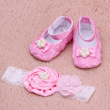 Baby Girls Toddler Flower Shoes Spring Autumn Footwear First Walkers with Pearl Headband