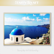 Professional Artist Hand-painted High Quality Greece Santorini Oil Painting on Canvas Europe Landscape Santorini Oil Painting цена