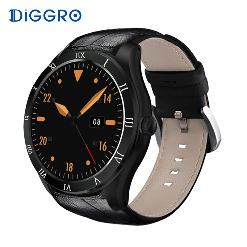 Diggro DI05 512 MB + 8 GB Smart Uhr MTK6580 Bluetooth 4,0 Unterstützung 3G NANO SIM Karte GPS WIFI 1,39 zoll AMOLED Smart Uhr VS KW88