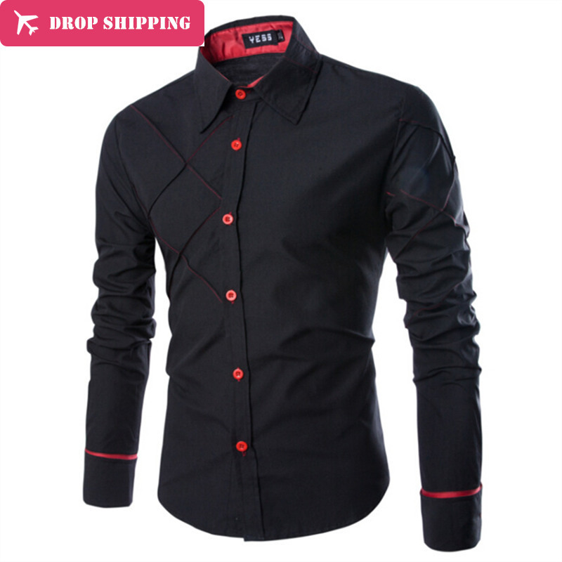 Camisas de moda Camisa de cuadros Slim Fit Hombre Social Camisas manga larga ropa de marca, Chemise Homme... ux32
