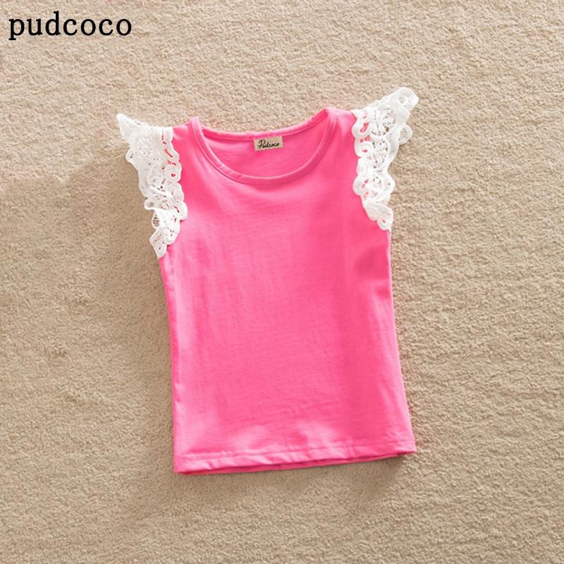 Infant Kids Cotton T-Shirt Baby Girls Princess Lace Summer Tops T-Shirt Solid White Green Pink Black Purple Sleeveless Shirt USA