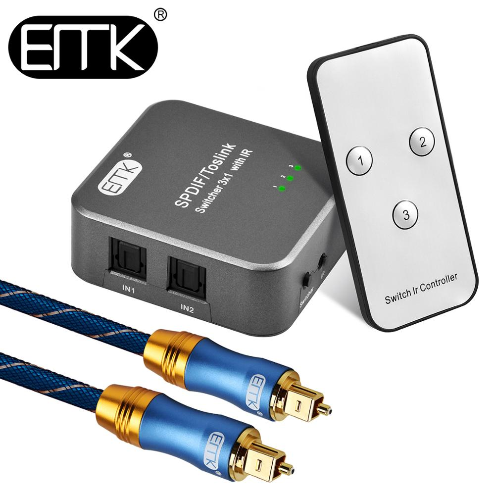 EMK Optical Audio Switch SPDIF Toslink Switch IR Remote 3 Input 1 Output Optical Switcher Toslink Selector Box 3 Way For DVD Ps4