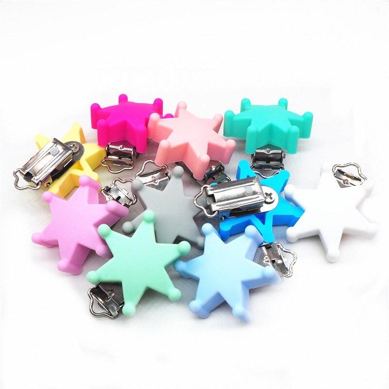 Купить с кэшбэком Chenkai 10pcs Silicone Star Teether Clips DIY Baby Rattle Pacifier Dummy Montessori Sensory Jewelry Holder Chain Toy Clips
