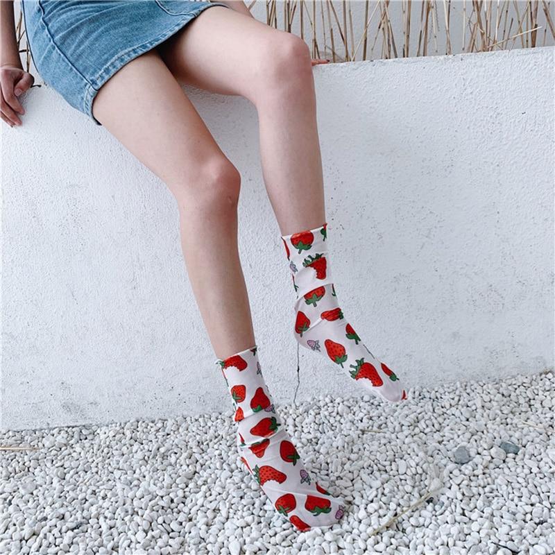 Fashion Chiffon Tulle Strawberry Socks For Women Thin Transparent Mesh Socks Lady High Knee Long Socks Female Dress Hosiery Sock