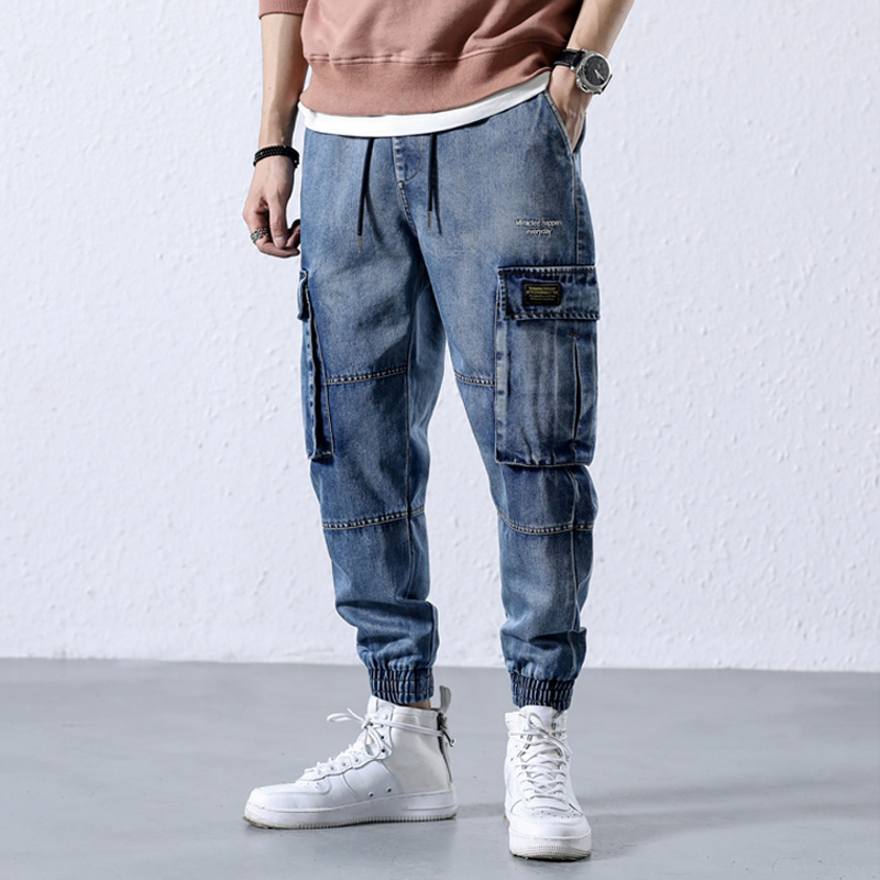 2018 Autumn Winter Fashion Men Jeans High Street Punk Style Jogger Pants Big Pocket Ankle Banded Cargo Pants Hip Hop Jeans Men