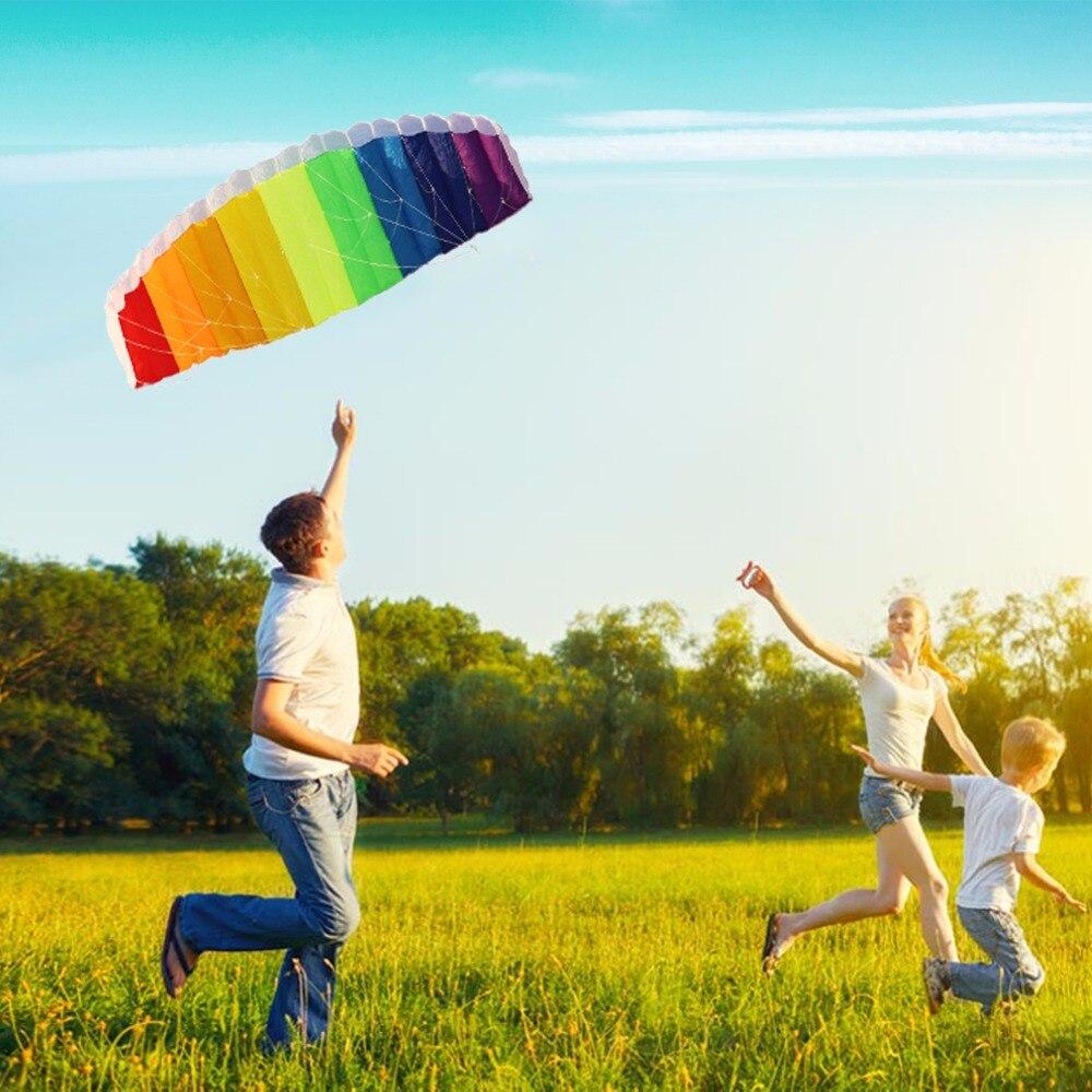 Regenbogen Power Dual Line Fallschirm Drachen mit 2 stücke 30 mt Nylon Flying Lines und Tragetasche Kinder Strand Outdoor Sport Spielen Spielzeug