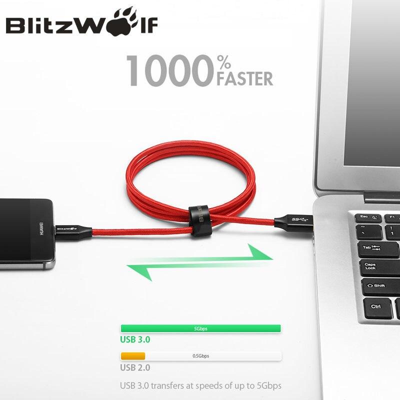 Image 4 - BlitzWolf кабель USB тип С кабель 1m 1.8m для зарядки мобильного телефона для Xiaomi для Macbook-in Кабели для мобильных телефонов from Мобильные телефоны и телекоммуникации on AliExpress