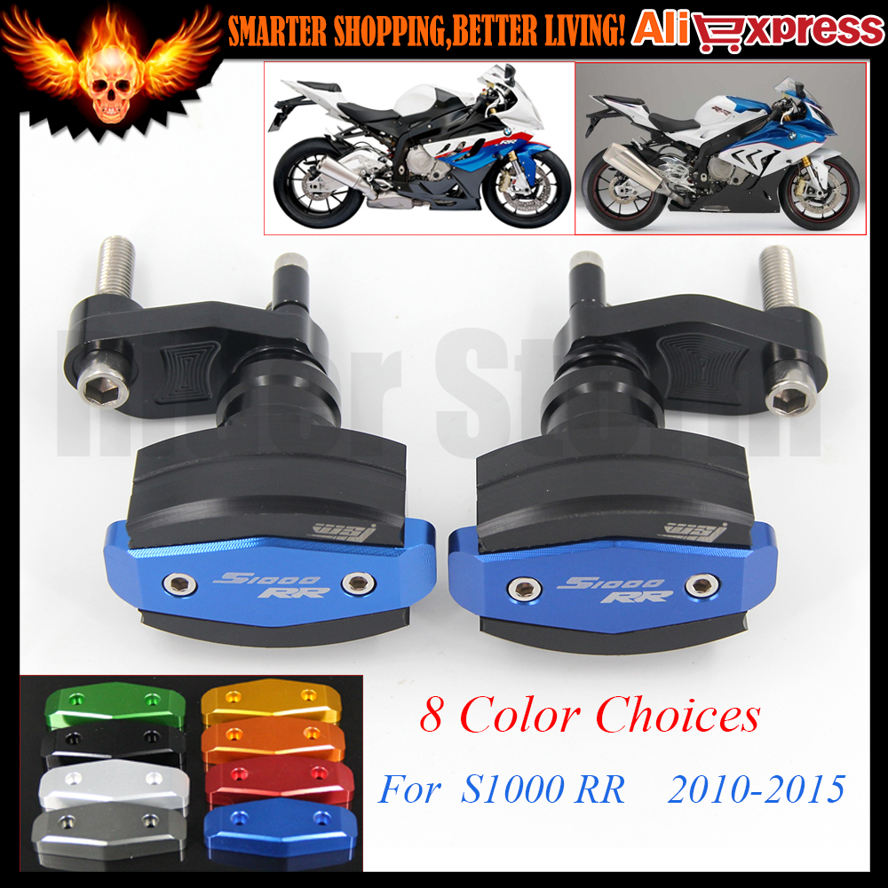 CNC Left and Right Motorcycle Frame Slider Anti Crash Protector Blue Red Titanium For BMW S1000 RR S1000RR 2010-2015 2013 2014