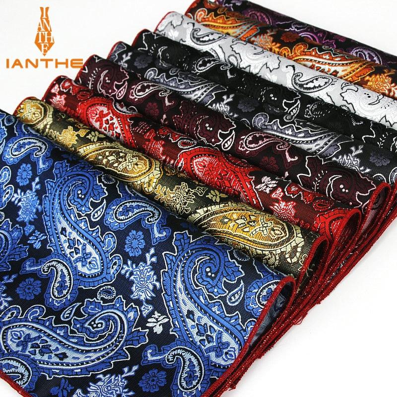 Classic Men's Handkerchief Vintage Silk Hanky Jacquard Woven Colorful Paisley Pocket Square 25*25cm Wedding Party Chest Towel