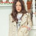 Chifave 2016 Nova Primavera Outono Crianças Meninas Roupas Turn-down Collar Double Breasted Plaid Pattern Meninas Crianças Outwear Jaqueta
