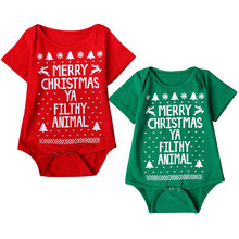 baby boy clothing set baby girl clothes set Short sleeves Printed Christmas Romper Bodysuit Jumpsuit roupas recem nascido