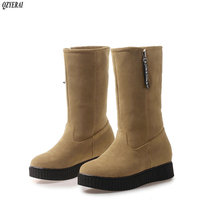 hot deal buy qzyerai new winter plush warm snow boots mid-tube women boots leisure style fur snow boots warm women shoes size 34-43