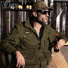 V JEAN Mens Detachable-Sleeve Hooded Troop Jacket with Multi-Pockets