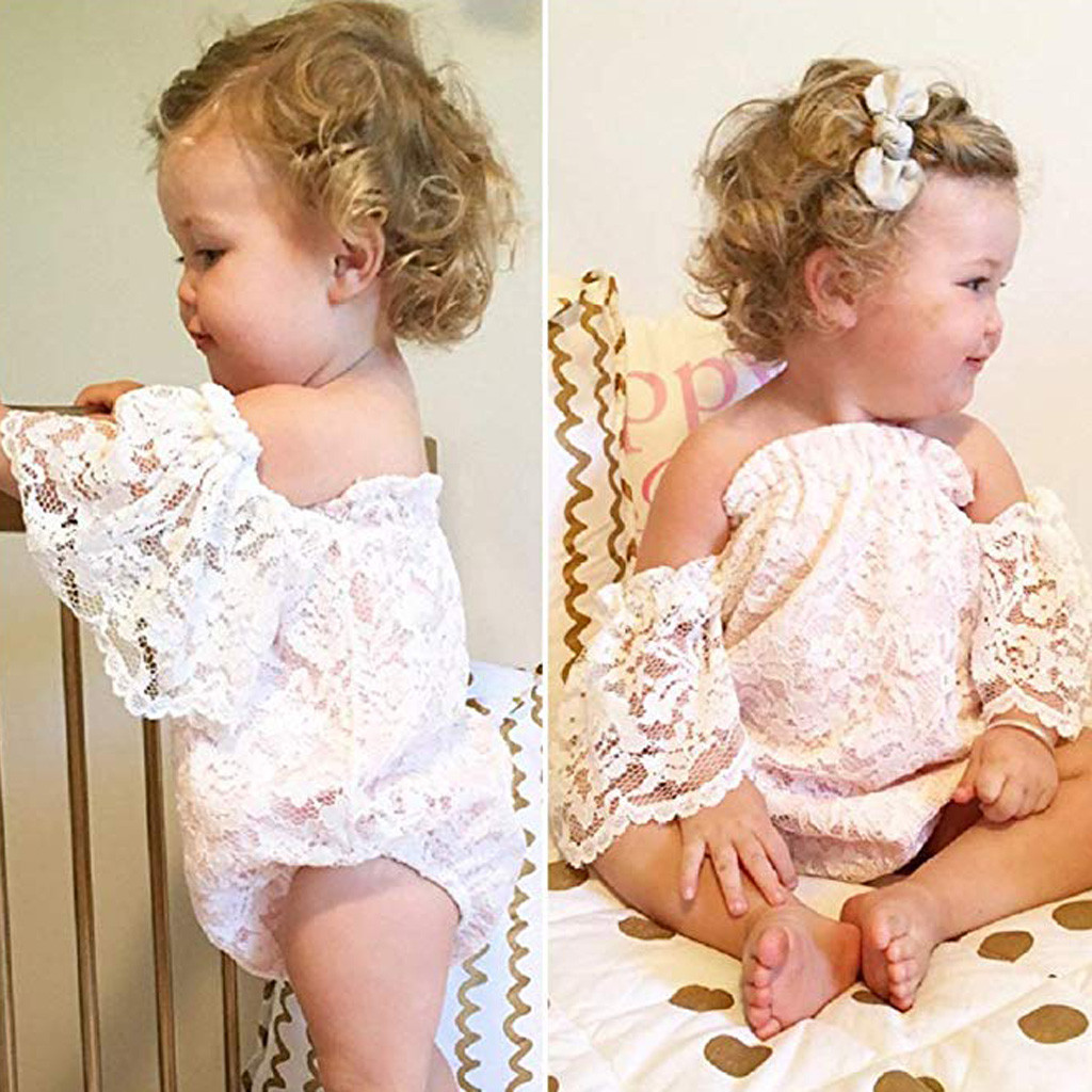 MUQGEW Baby Girl Clothes Newborn Infant Baby Girl Lace Off Shoulder Ruffled Sleeve Romper Bodysuit Dropshipping Roupa Infantil