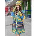 Women Knitted Ski Cap Hat Scarf Warm Wrap Set Christmas Snowflake Deer