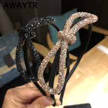 AWAYTR Fashion Big Bow Shining Rhinestone Hairband for Women Bead Headband Knotted Hair Bows Girls  Hair Accessories Headwear
