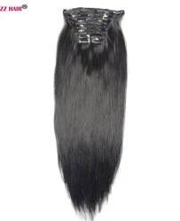 """Zzhair 140 г-260 г 16 """"-24"""" машина сделала Волосы Remy 10 шт. комплект Зажимы в пряди человеческих волос для наращивания Комплект на всю голову природных"""