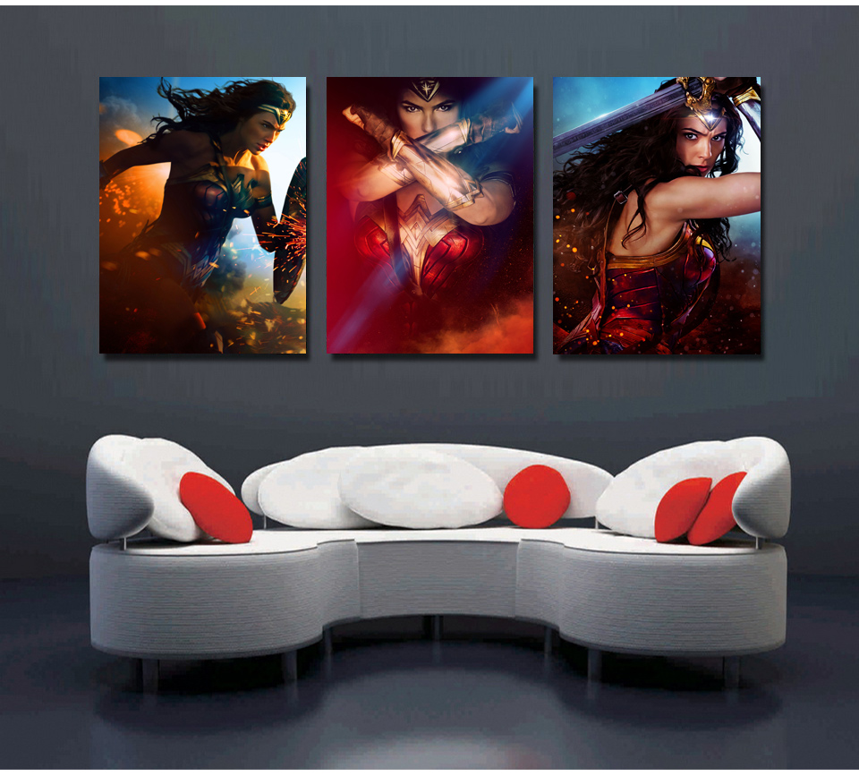 Wonder Woman Wall Art printed picture modular painting modern wall art 3 panel movie