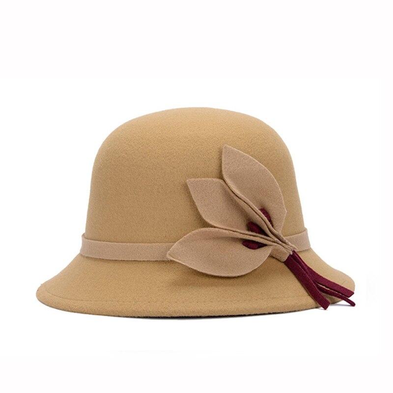 Gutherzig Winter Elegante Frauen Mode Runde Hut Bowler Cap Nachahmung Wolle Bowknot Fedoras Kirche Cloche Eimer Hüte Vintage Krempe Feminino