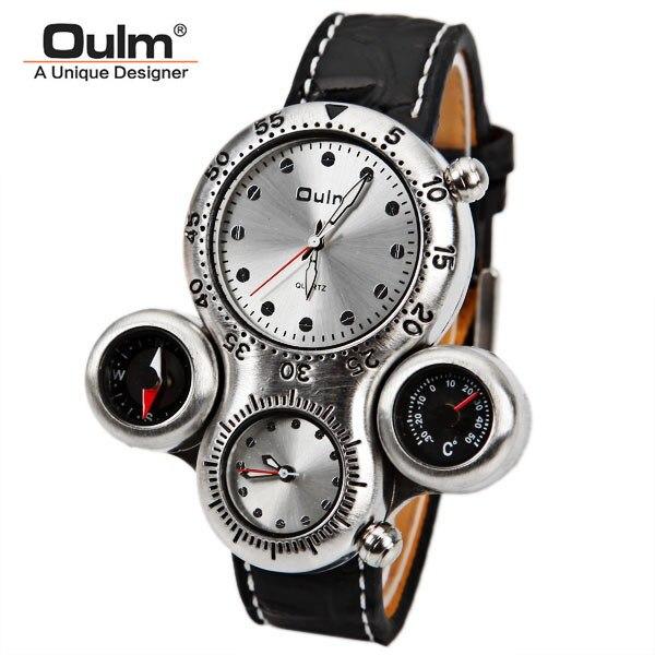 Oulm marken-männer military uhr mit dual-bewegung kompass und thermometer funktion brown dial lederband sportuhren