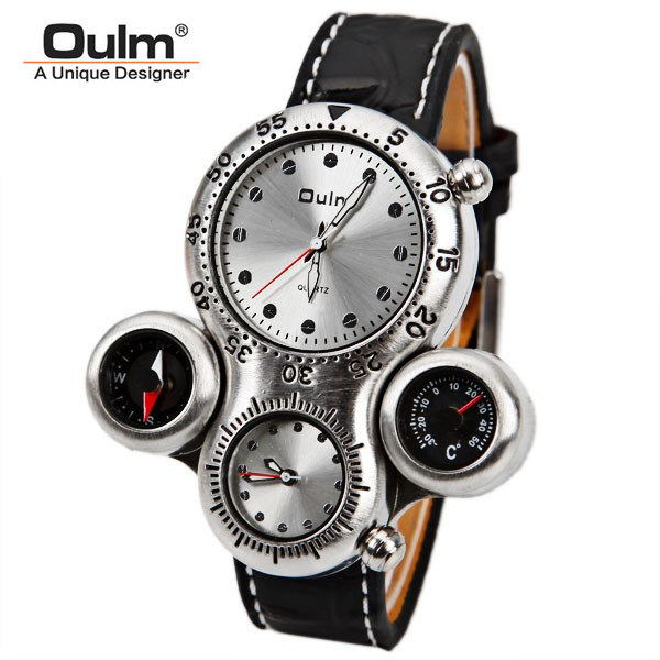 OULM Brand Men's Military Watch with Dual Movement Compass and Thermometer Function Brown Dial Leather Strap Sports watches