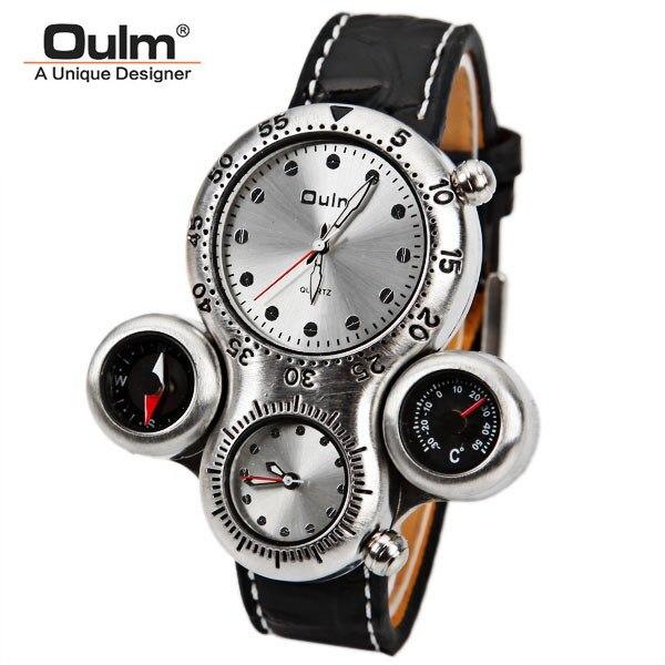 OULM marka męski zegarek wojskowy z podwójny ruch kompas i termometr funkcja brązowy Dial skórzany pasek zegarki sportowe