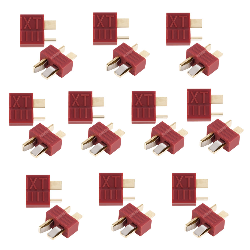 20pcs Anti-skidding Deans Plug T Connector Male & Female For RC LiPo Battery(China)