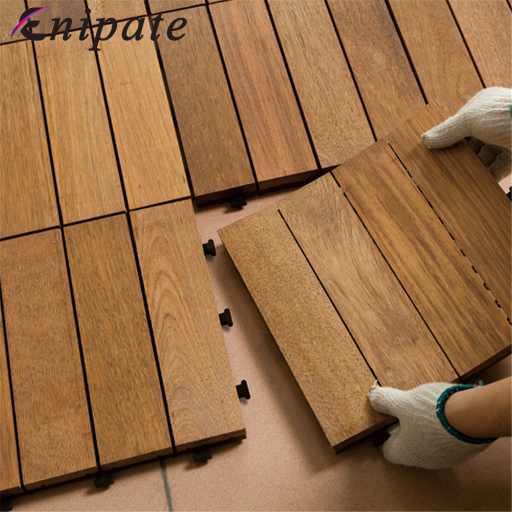 Enipate 1 PC Interlocking Flooring Tiles Solid Teak Wood Suitable for Indoor and Outdoor Applications Stripe Pattern Rug wood