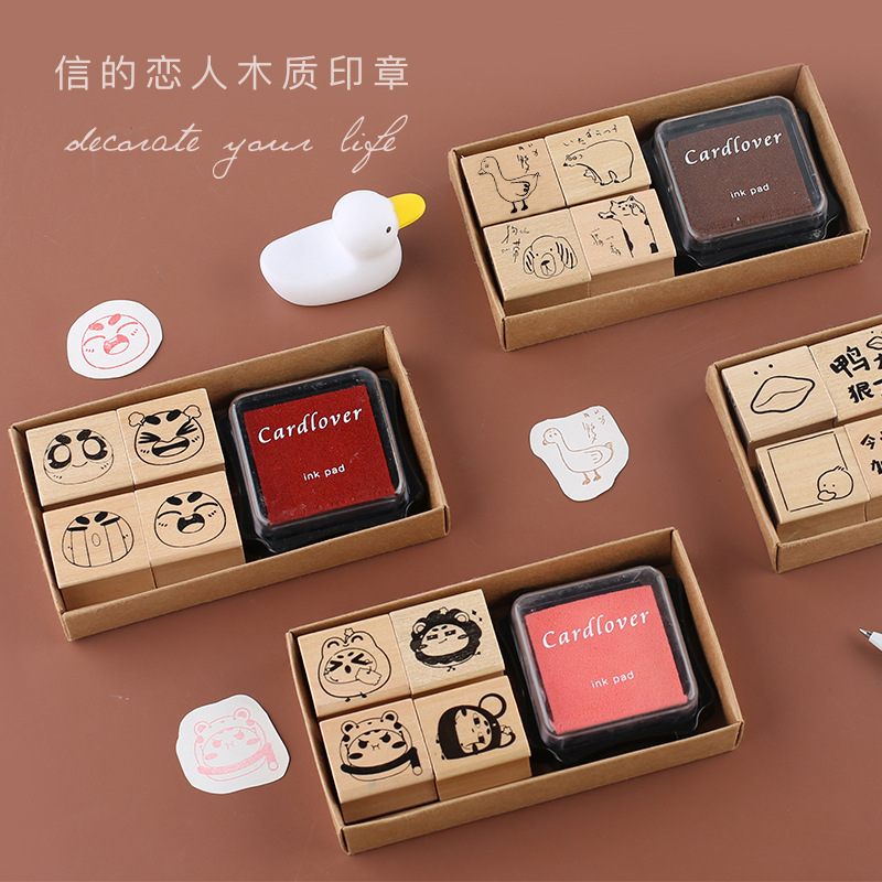 5 Pcs Creative Cute Animal Friends Series With Inkpad Stamp DIY Wooden Rubber Stamps For Scrapbooking Stationery Standard Stamp