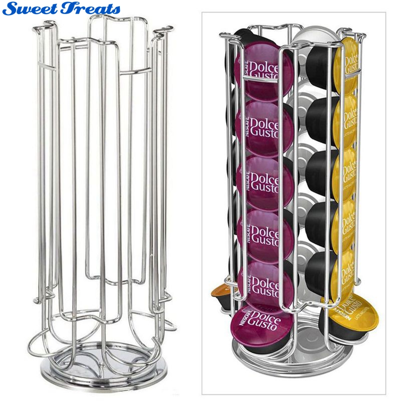 Sweettreats Top Home Solutions Revolving Rotating 24 Capsule Coffee Pod Holder Tower Stand Rack