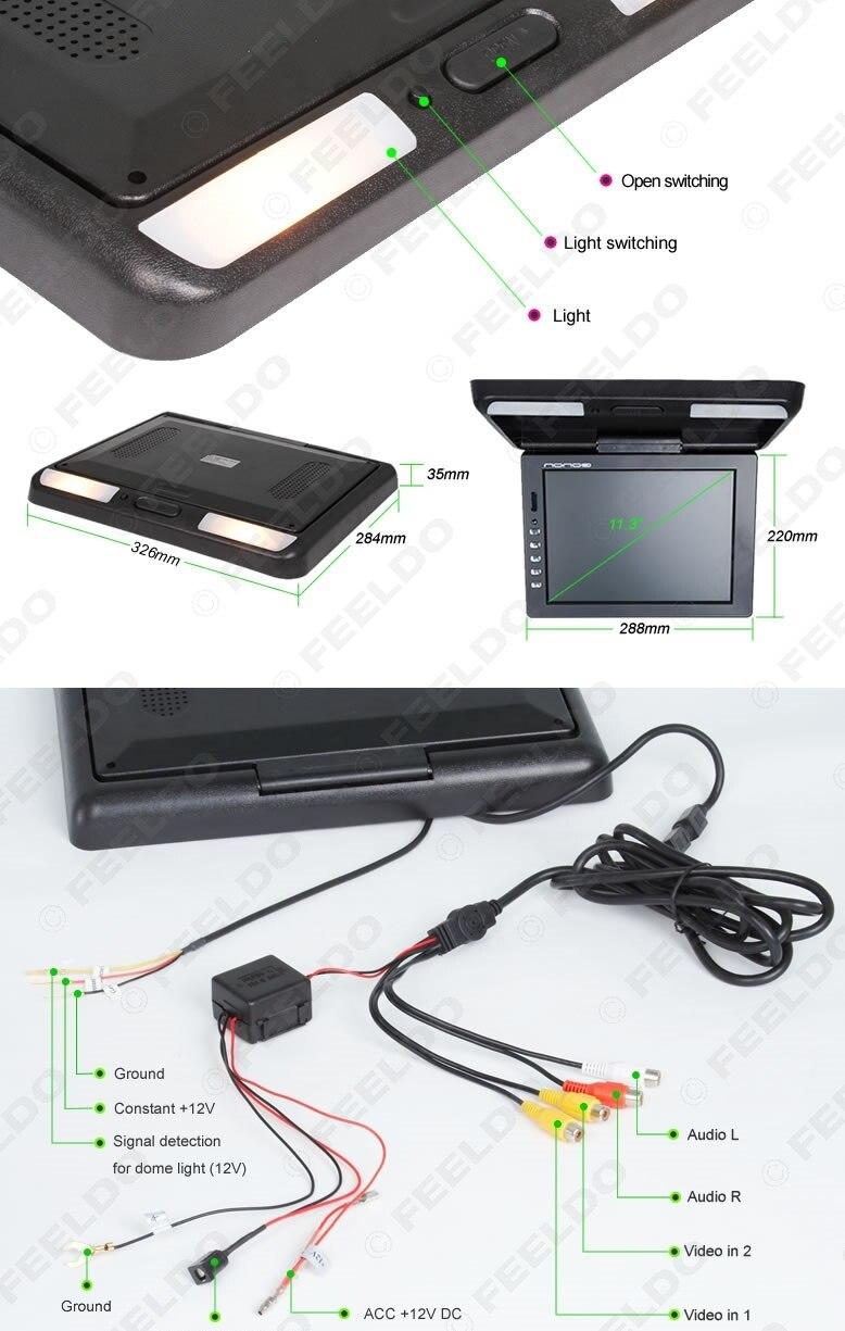 FEELDO 11.3 moniteur LCD TFT monté sur le toit entrée vidéo 2 voies rabattable moniteur voiture/Bus/camion # HQ1284 - 5