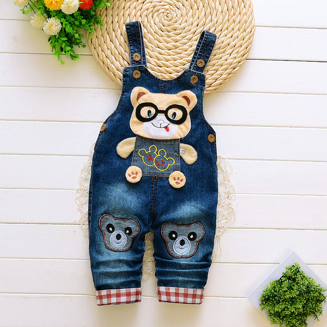 BibiCola 2018 baby boys overalls cartoon spring jumpsuits for infant boys new denim trousers for toddler boys pants jeans