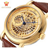 OUYAWEI Mens Gold Watches Top Brand Luxury Mechanical Steampunk Style Leather Strap Automatic Wristwatch Skeleton Male