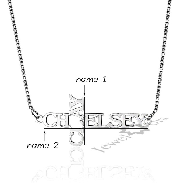 Personalised 2 Name Engraved Cross 925 Sterling Silver Necklace