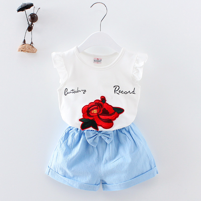 BibiCola Summer Newborn Baby Girl Clothes Set Floral Top +Shorts 2PCS Sport Outfits Suit Toddler Tracksuit Kids Clothing Set floral applique bowknot top with shorts