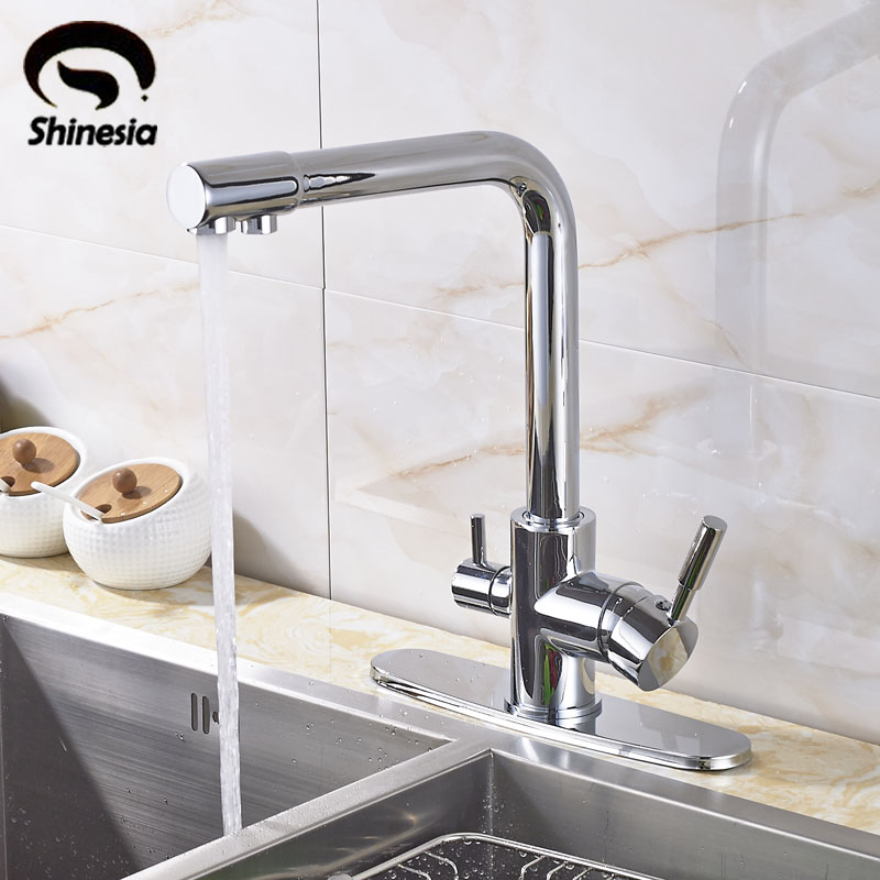 Solid Brass Chrome Purification Kitchen Sink Faucet Pure Water & Hot Water & Cold Water Mixer Tap with 10 Inch Cover Plate free shipping white paint kitchen faucet with solid brass kitchen sink faucet and hot cold kitchen sink water mixer taps