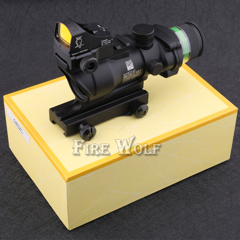Tactical Good acog style 4x32 rifle scope green Optical fiber and DOC red dot sight scope Hunting Tactical combo цены онлайн