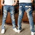Корейских мальчиков Джинсы Дети Личности после карманы Джинсы узкие брюки брюки 6-10 год